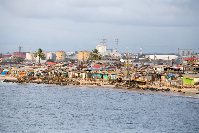 Monrovia, Liberia October 13, 2017 - Make shift homes built too close to the ocean provide an unsafe harbor during storms.