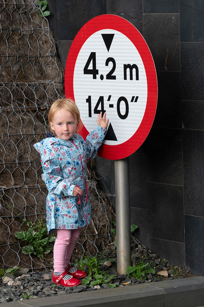 Girl standing near a road sign, Giants Causeway, County Antrim, Northern Ireland, United Kingdom
