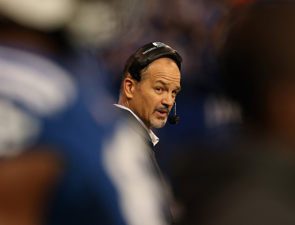 . Head coach Chuck Pagano of the Indianapolis Colts returns to the sidelines after treatment for leukemia for a game against the Houston Texans at Lucas Oil Stadium on December 30, 2012 in Indianapolis, Indiana.  (Photo by Jonathan Daniel/Getty Images)