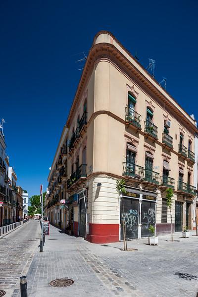 Typical houses, Peris Mencheta street, Alameda de Hercules area, Seville, Spain