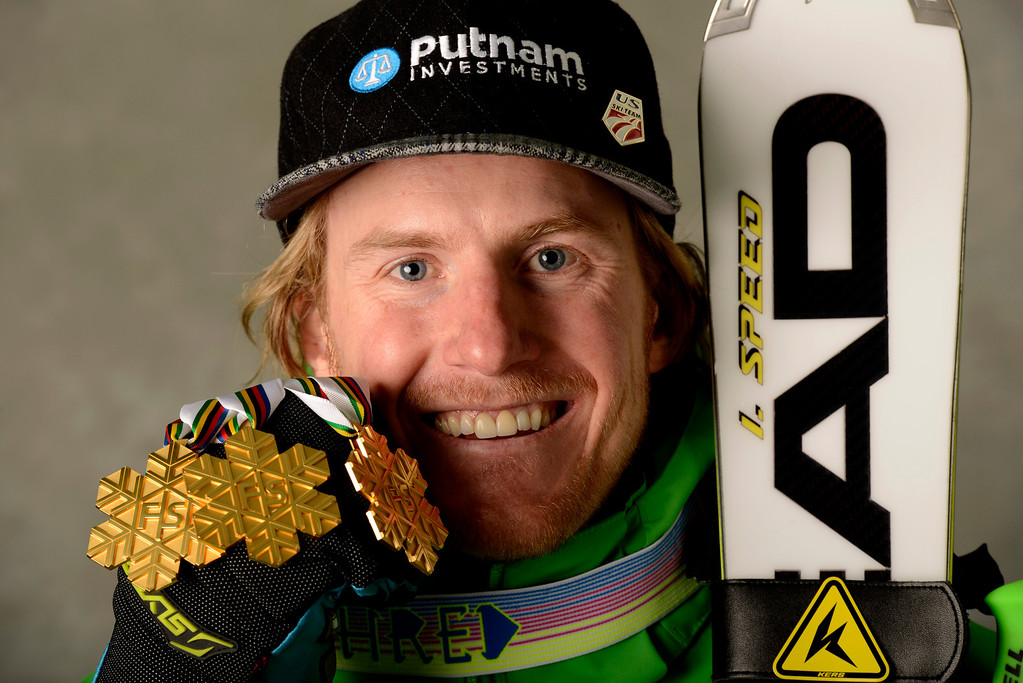 . In this photo provided by Schladming 2013 Friday, Feb. 15, 2013, Ted Ligety, of the United States, poses with his 3 gold medals after winning the men\'s Giant Slalom, Super Combined and Super-G at the Alpine Skiing World Championships,  in Schladming, Austria. (AP Photo/Erich Spiess, Schladming 2013)