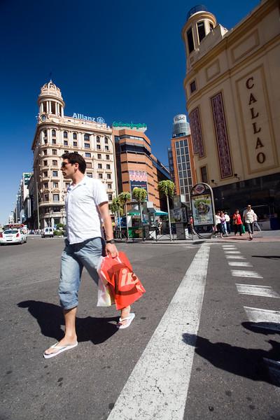 Urban scene in Callao, one of the main landmarks in Madrid city center, Spain