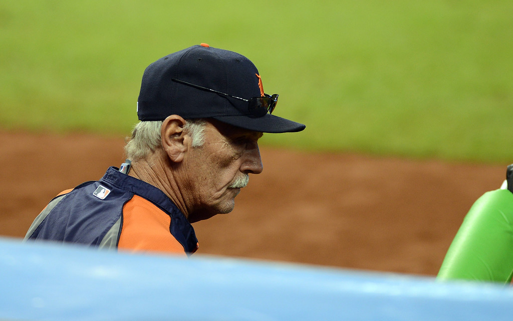 . MIAMI, FL - SEPTEMBER 29:  Manager Jim Leyland of the Detroit Tigers looks on during a game against the Miami Marlins at Marlins Park on September 29, 2013 in Miami, Florida.  (Photo by Jason Arnold/Getty Images)