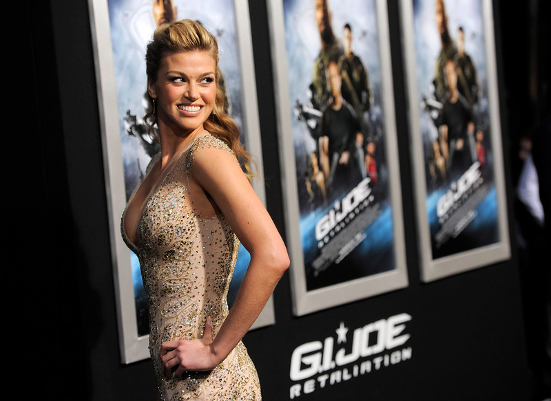 ". Adrianne Palicki, a cast member in ""G.I. Joe,\"" turns back for photographers at the Los Angeles premiere of the film at the TCL Chinese Theatre on Thursday, March 28, 2013 in Los Angeles. (Photo by Chris Pizzello/Invision/AP)"