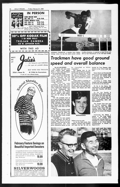 Daily Trojan, Vol. 60, No. 75, February 21, 1969