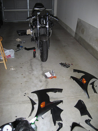 Working on Motorcycle