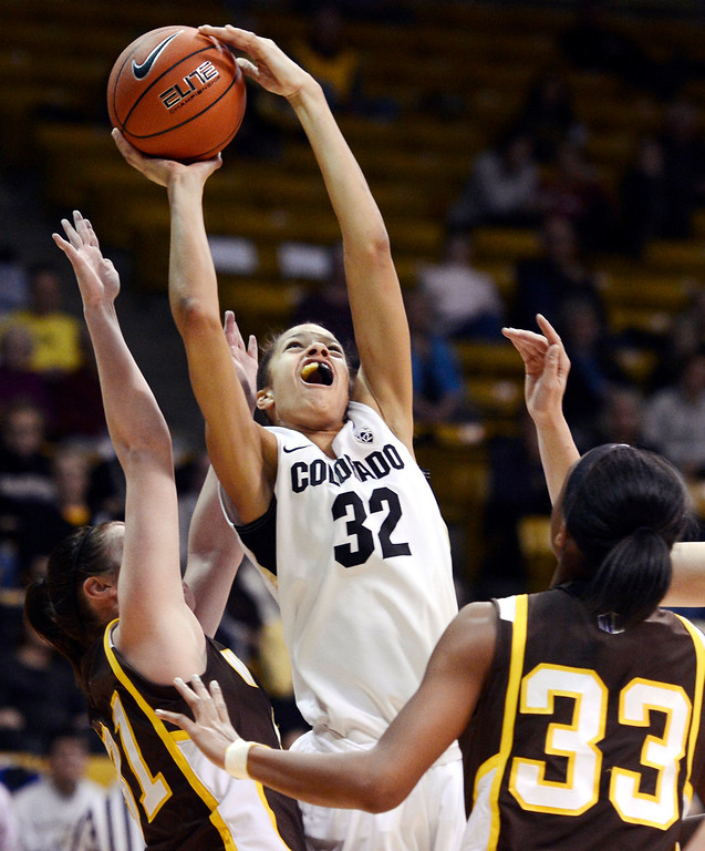 . Colorado\'s Arielle Roberson (32) shoots over Wyoming\'s Kaitlyn Mileto, left, and Chaundra Sewell (33) during their NCAA college basketball game, Wednesday, Nov. 28, 2012, in Boulder, Colo. Colorado won 68-59. (AP Photo/The Daily Camera, Jeremy Papasso)