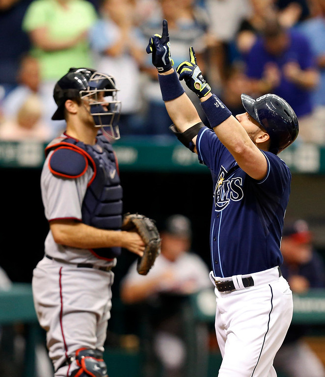 . Tampa Bay\'s Luke Scott, right, celebrates after scoring on a solo home run in front of Twins catcher Joe Mauer during the sixth inning. (AP Photo/Mike Carlson)