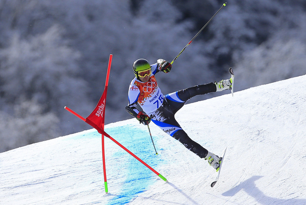 . Georgia\'s Iason Abramashvili competes in the Men\'s Alpine Skiing Giant Slalom Run 1 at the Rosa Khutor Alpine Center during the Sochi Winter Olympics on February 19, 2014.  AFP PHOTO / ALEXANDER  KLEIN/AFP/Getty Images