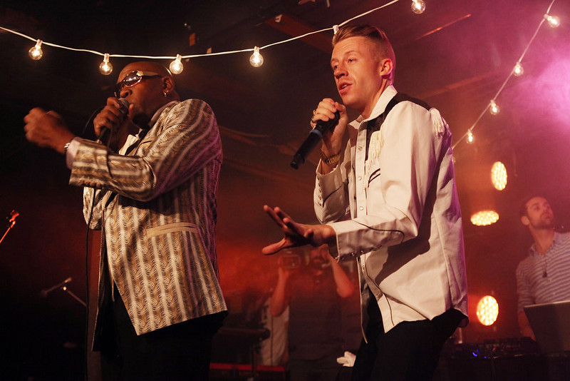 . Wanz (L) and Macklemore perform onstage at the iHeartRadio Official SXSW Showcase on March 12, 2013 in Austin, Texas.  (Photo by Roger Kisby/Getty Images for iHeartradio)