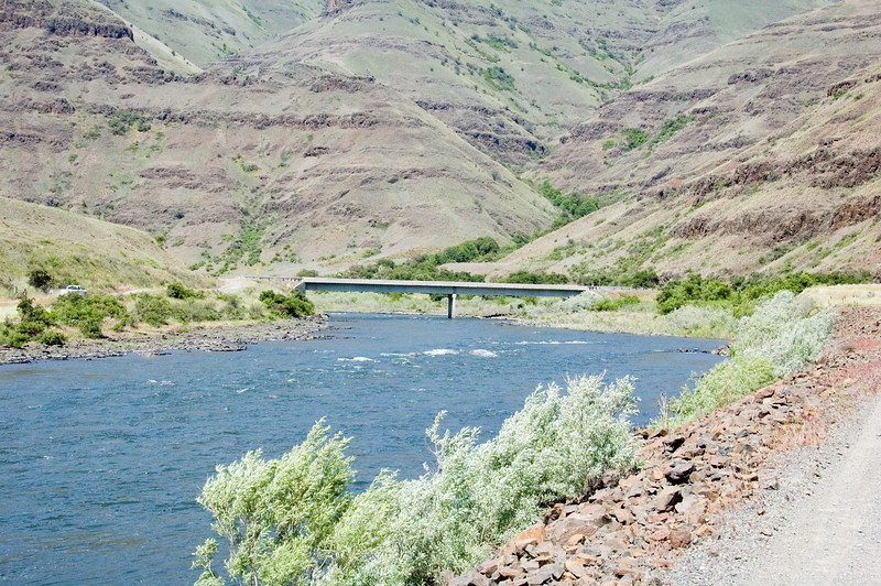 """After the farm loop, it was on to the rim of Hells Canyon via the """"Cold Springs"""" route.  This bridge crosses the Ronde Grande river about 1/2 mile upstream from the confluence with the Snake outside of Clarkston.  It signifies the beginning of this off road route."""