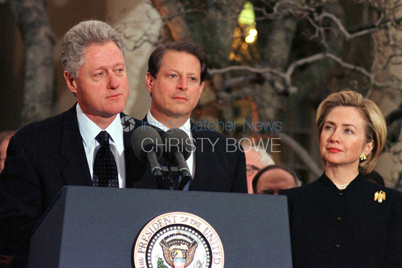 President Clinton responds to his verdict of Impeachment by the U.S. House of Representatives as Vice President Al Gore and First Lady Hillary Clinton look on.