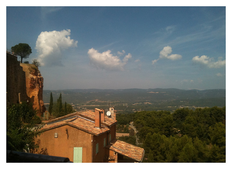 View from our lunch table in Roussillon. You can see some of the ochre cliffs on the left.