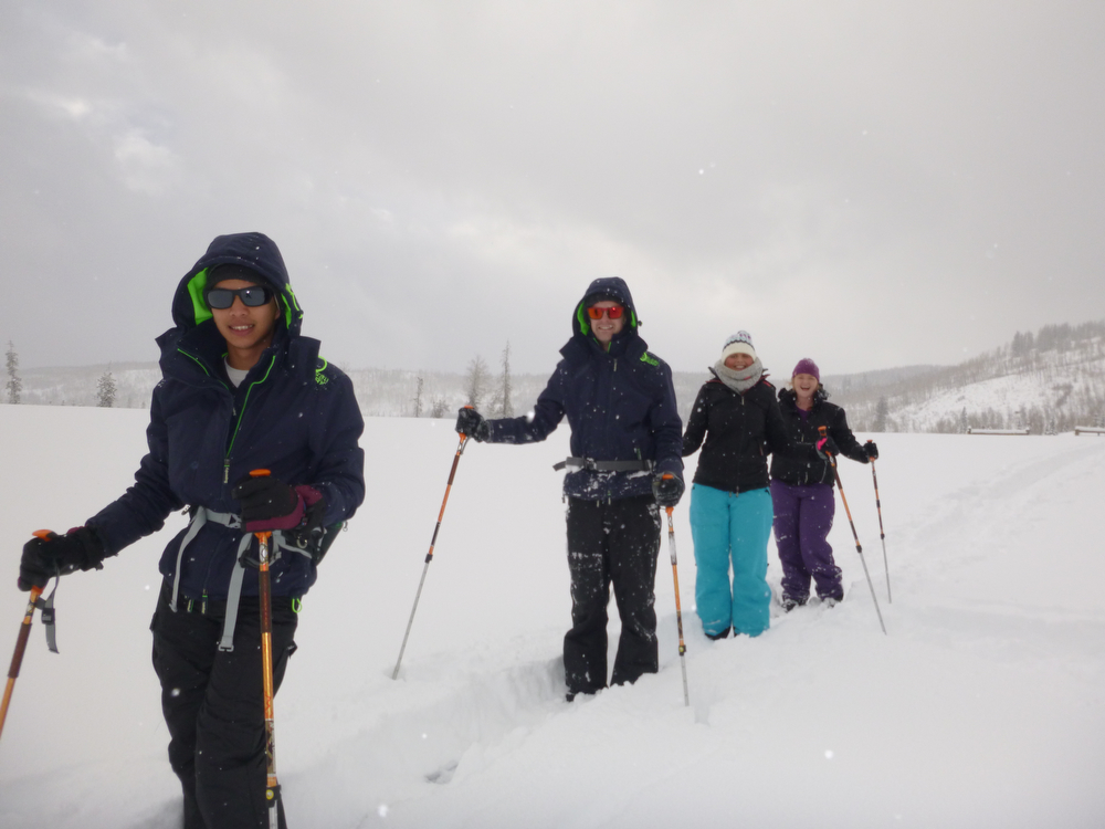 . The guests from Australia, with Alvin Charles in the front, head out on a cross-country ski adventure from Vista Verde Guest Ranch in Clark. (Photo by Kyle Wagner)