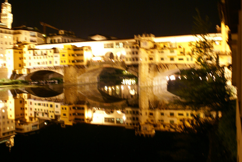 Merchant Bridge at night - bright, Florence