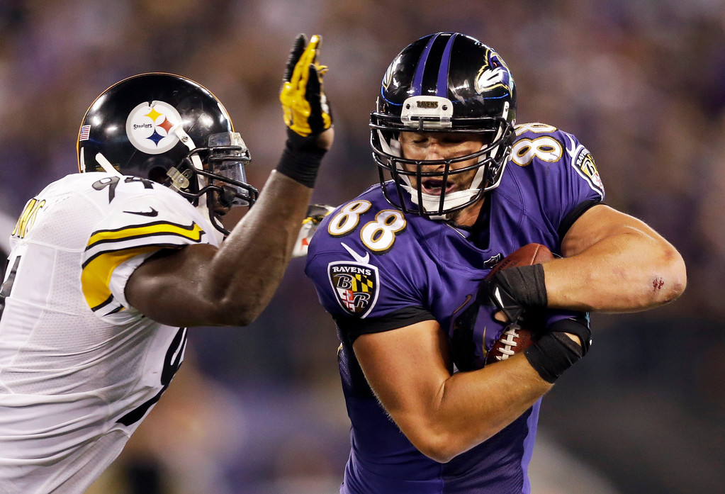 . Pittsburgh Steelers inside linebacker Lawrence Timmons (94) closes in on Baltimore Ravens tight end Dennis Pitta (88) during the first half of an NFL football game Thursday, Sept. 11, 2014, in Baltimore. (AP Photo/Patrick Semansky)