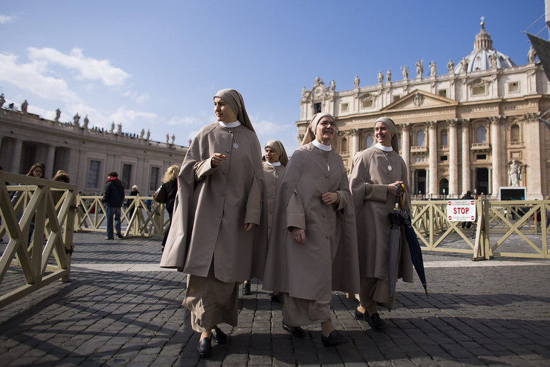 . Nuns arrive in Peters Square on February 24, 2013 in Vatican City, Vatican. Pope Benedict XVI delivers his last Angelus Blessing from the window of his private apartment to thousands of pilgrims gathered in Saint Peter\'s Square on February 24, 2013 in Vatican City, Vatican. The Pontiff will hold his last weekly public audience on February 27, 2013 before he retires the following day. Pope Benedict XVI has been the leader of the Catholic Church for eight years and is the first Pope to retire since 1415. He cites ailing health as his reason for retirement and will spend the rest of his life in solitude away from public engagements.  (Photo by Carsten Koall/Getty Images)