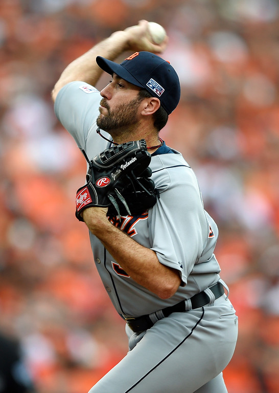 . Detroit Tigers starting pitcher Justin Verlander throws to the Baltimore Orioles in the first inning of Game 2 in baseball\'s AL Division Series in Baltimore, Friday, Oct. 3, 2014. (AP Photo/Nick Wass)