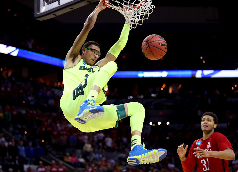 . Isaiah Austin #21 of the Baylor Bears dunks in the second half against the Nebraska Cornhuskers during the second round of the 2014 NCAA Men\'s Basketball Tournament at AT&T Center on March 21, 2014 in San Antonio, Texas.  (Photo by Ronald Martinez/Getty Images)