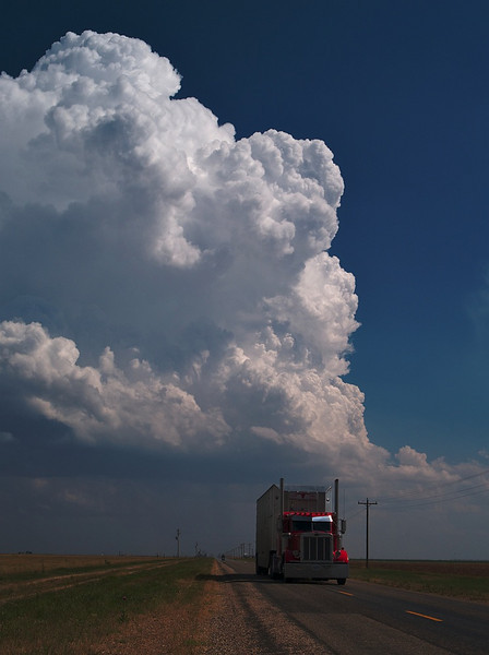 Great truck shot under a bubbling Texan storm. Storm chase in 2005. Oly E1, 50-200mm