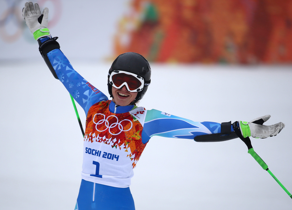 . Tina Maze of Slovenia celebrates after the Women\'s Giant Slalom race at the Rosa Khutor Alpine Center during the Sochi 2014 Olympic Games, Krasnaya Polyana, Russia, 18 February 2014.  EPA/MICHAEL KAPPELER