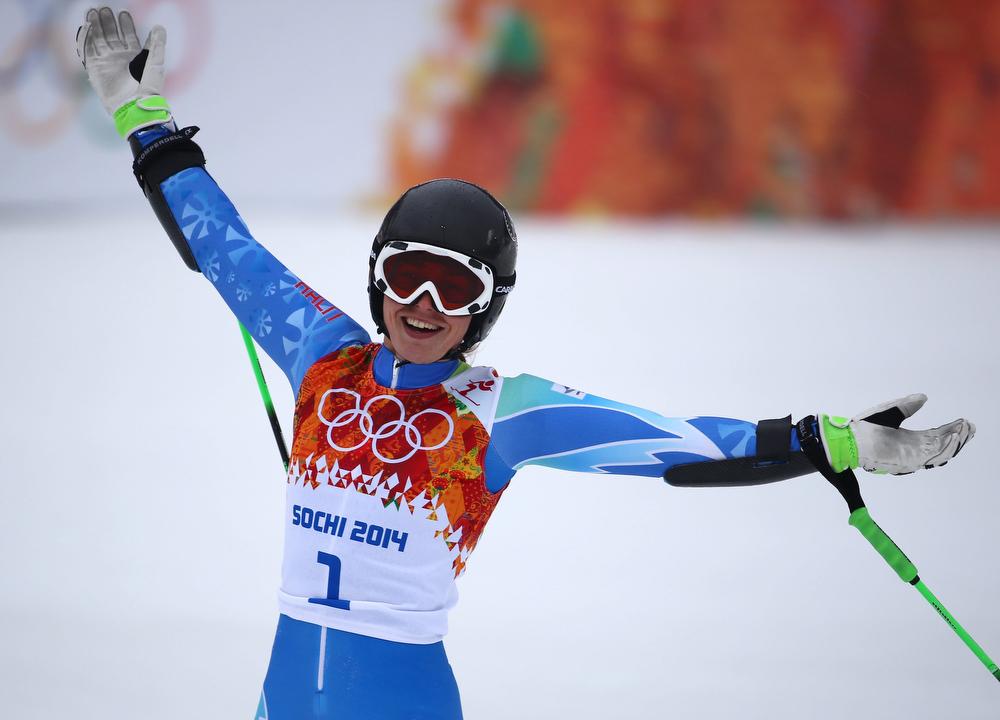 . Tina Maze of Slovenia celebrates after the Women\'s Giant Slalom race at the Rosa Khutor Alpine Center during the Sochi 2014 Olympic Games, Krasnaya Polyana, Russia, 18 February 2014.  EPA/MICHAEL KAPPELER