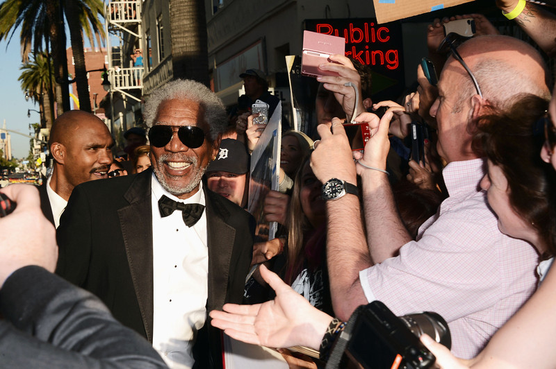 """. Actor Morgan Freeman arrives at the premiere of Universal Pictures\' \""""Oblivion\"""" at Dolby Theatre on April 10, 2013 in Hollywood, California.  (Photo by Kevin Winter/Getty Images)"""