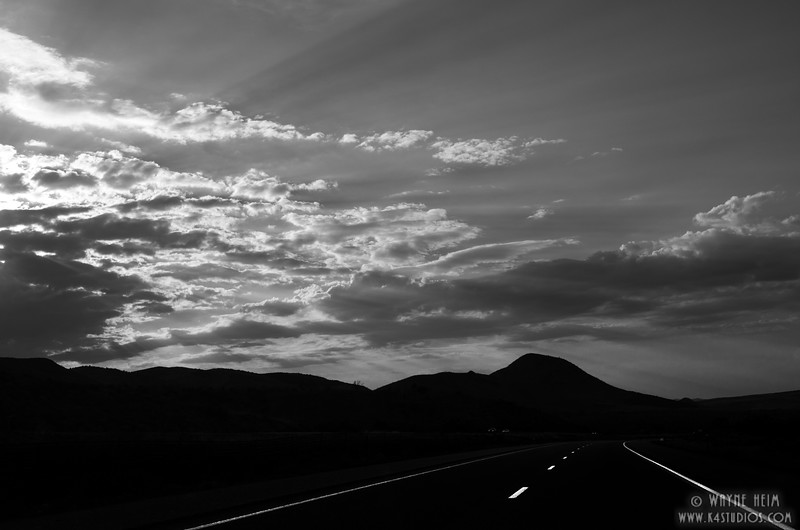 Night Highway - Black & white Photography by Wayne Heim