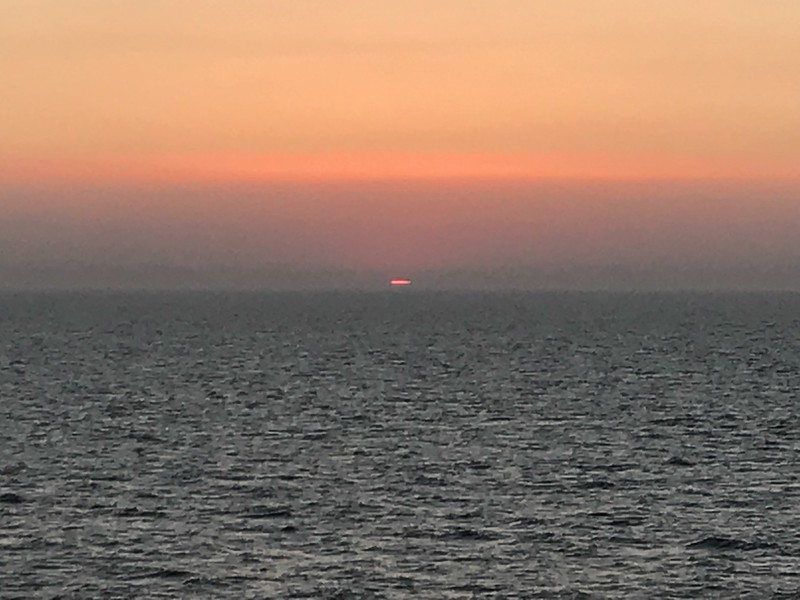 sunset on the overnight ferry to Oslo