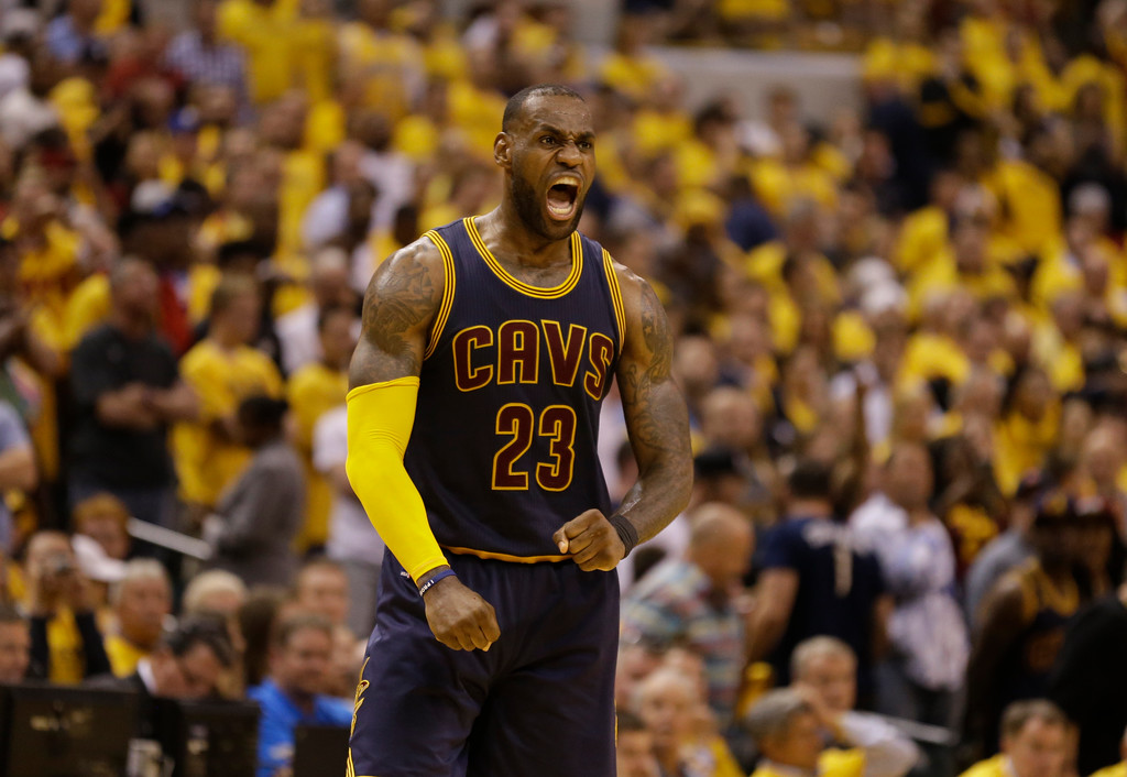 . Cleveland Cavaliers forward LeBron James (23) celebrates a basket in the second half of Game 3 of a first-round NBA basketball playoff series, Thursday, April 20, 2017, in Indianapolis. The Cavaliers defeated the Pacers 119-114. (AP Photo/Michael Conroy)