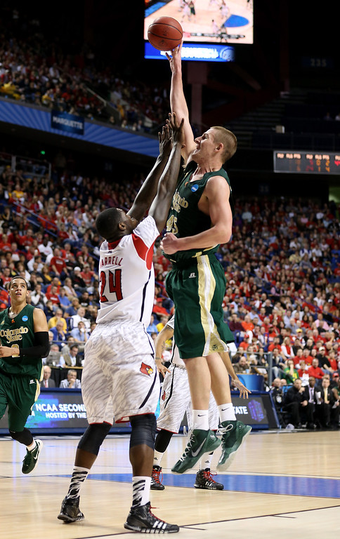 . LEXINGTON, KY - MARCH 23: Colton Iverson #45 of the Colorado State Rams shoots over 24 in the first half during the third round of the 2013 NCAA Men\'s Basketball Tournament at Rupp Arena on March 23, 2013 in Lexington, Kentucky.  (Photo by Andy Lyons/Getty Images)