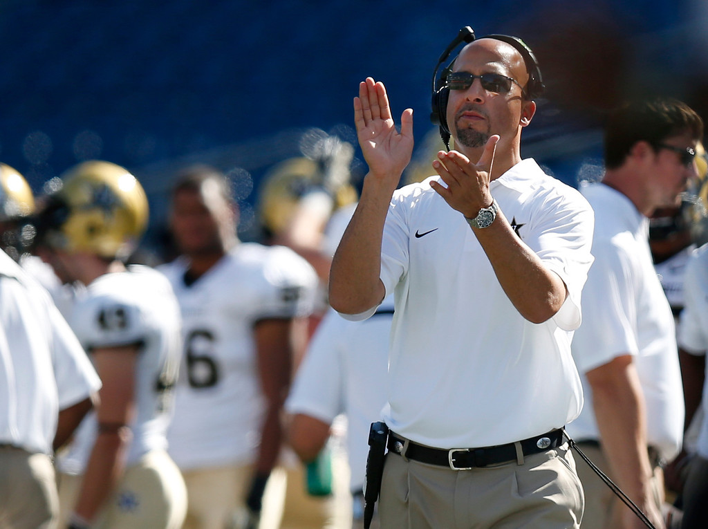 . <b>James Franklin</b> <br />Head coach, Vanderbilt    (Saturday, Sept. 21, 2013)  (AP Photo/Elise Amendola)