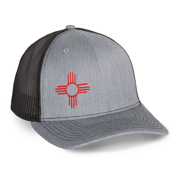 Outdoor Apparel - Organ Mountain Outfitters - Hat - Zia Sun Symbol Trucker Cap - Heather Grey Black.jpg