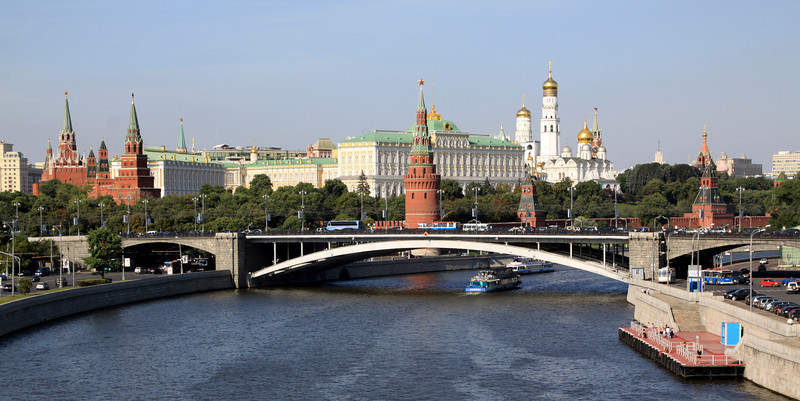 The Kremlin and Moscow River viewed from the footbridge near the Cathedral of Christ the Saviour.