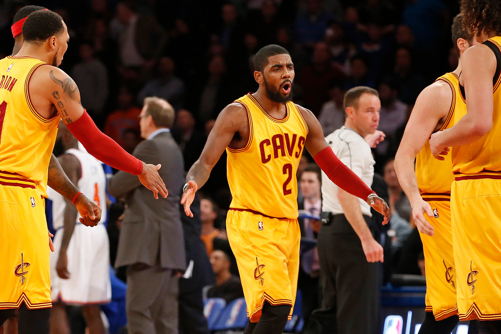 . Cleveland Cavaliers guard Kyrie Irving (2) reacts while returning to the bench in the final minutes of the second half of an NBA basketball game against the New York Knicks in New York, Thursday, Dec. 4, 2014. The Cavaliers won 90-87. (AP Photo/Kathy Willens)