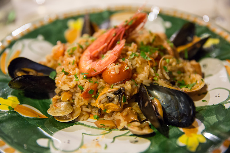 Risotto with seafood at italian restaurant in Anacapri