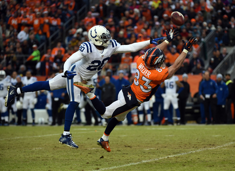 . Wes Welker (83) of the Denver Broncos reaches for the ball and misses the pass while being pressured by Darius Butler (20) of the Indianapolis Colts in the second quarter.  The Denver Broncos played the Indianapolis Colts in an AFC divisional playoff game at Sports Authority Field at Mile High in Denver on January 11, 2015. (Photo by Tim Rasmussen/The Denver Post)