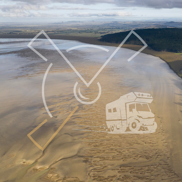 Aerial view on the Kaipara Harbour mudflats close to Ruawai, New Zealand.