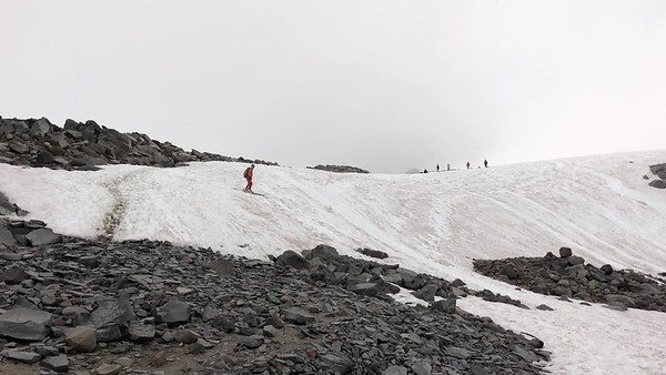 Mike and Tim hike to Camp Muir and ski down Mt. Rainier, July 2019