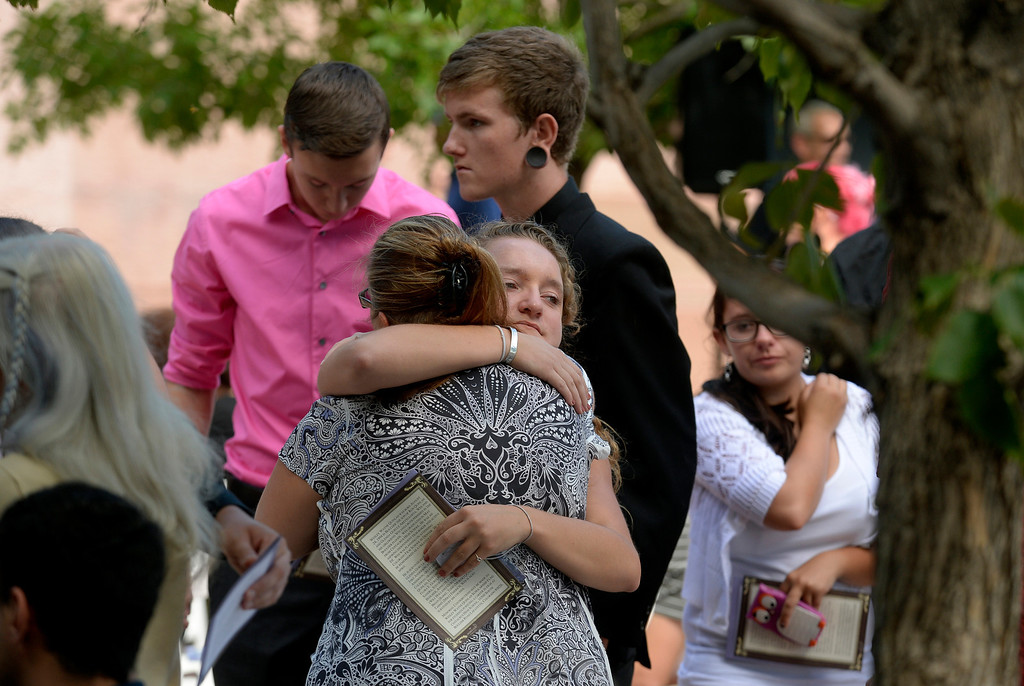 . Over 350 people joined together to honor Wesley Quinlan and Wiyanna Nelson during a memorial service  at the National Center for Atmospheric Research in Boulder, CO September 21, 2013. The couple died in the recent flood. (Photo By Craig F. Walker / The Denver Post)