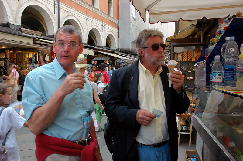 Gelato break on the Rialto Bridge, Venice