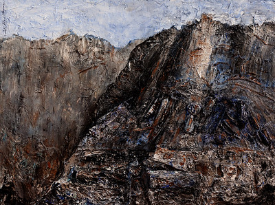 """""""Gray Day in the Mountains"""" (acrylics and collage) by Tobi Abrams"""