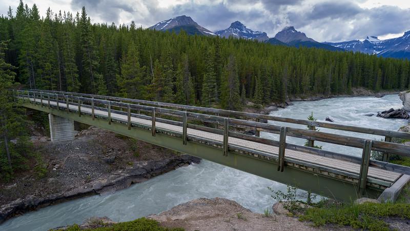 Bridge across river, Saskatchewan River Crossing, Icefields Parkway, Jasper, Alberta, Canada