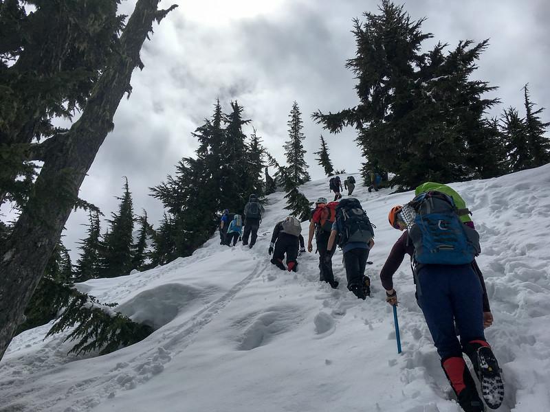 Final push to the ridge for Cowboy Mountain.