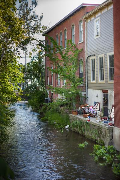 Food in and around Warwick New York.  The Wawayanda Creek meandering through downtown Warwick