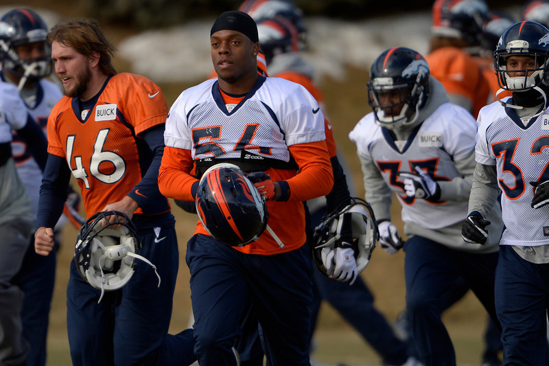 . Linebacker Brandon Marshall #54 of the Denver Broncos breaks for practice in Centennial at Dove Valley January 10, 2014 Centennial, Colorado. (Photo by Joe Amon/The Denver Post)