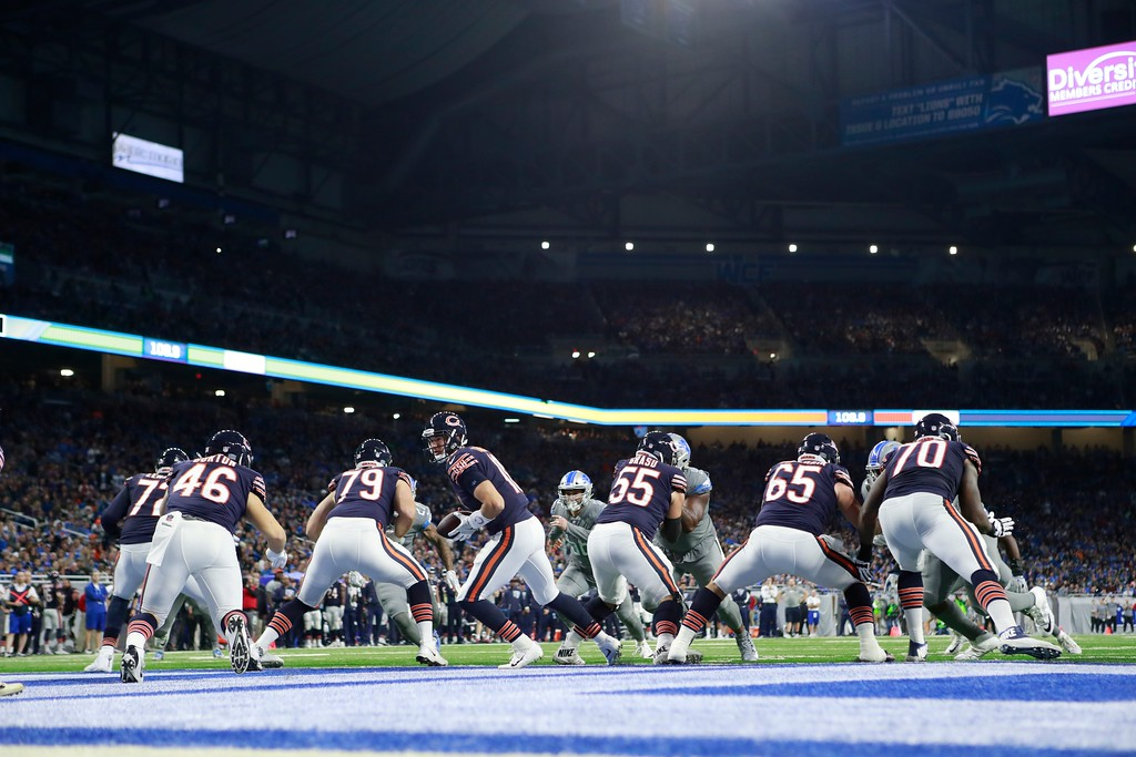 . Chicago Bears quarterback Mitchell Trubisky (10) prepares to handoff during the second half of an NFL football game against the Detroit Lions, Saturday, Dec. 16, 2017, in Detroit. (AP Photo/Rey Del Rio)