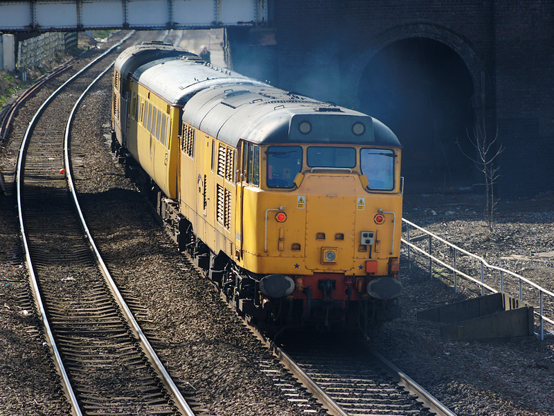 31602 sits on the rear of a Network Rail test train as it goes through Water Orton on the 14th April 2008