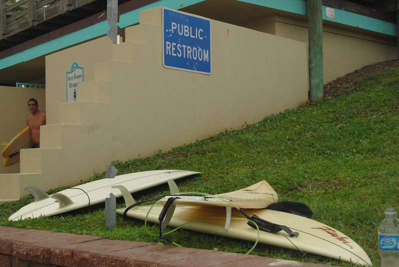 A stop at the restroom is a must for surfers after hours of surfing, sunning and mingling on Ormond Beach.