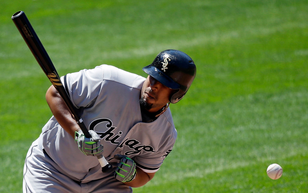 . Chicago White Sox\'s Jose Abreu is hit by a pitch by Cleveland Indians starter Carlos Carrasco in the sixth inning of a baseball game, Sunday, June 11, 2017, in Cleveland. (AP Photo/Tony Dejak)